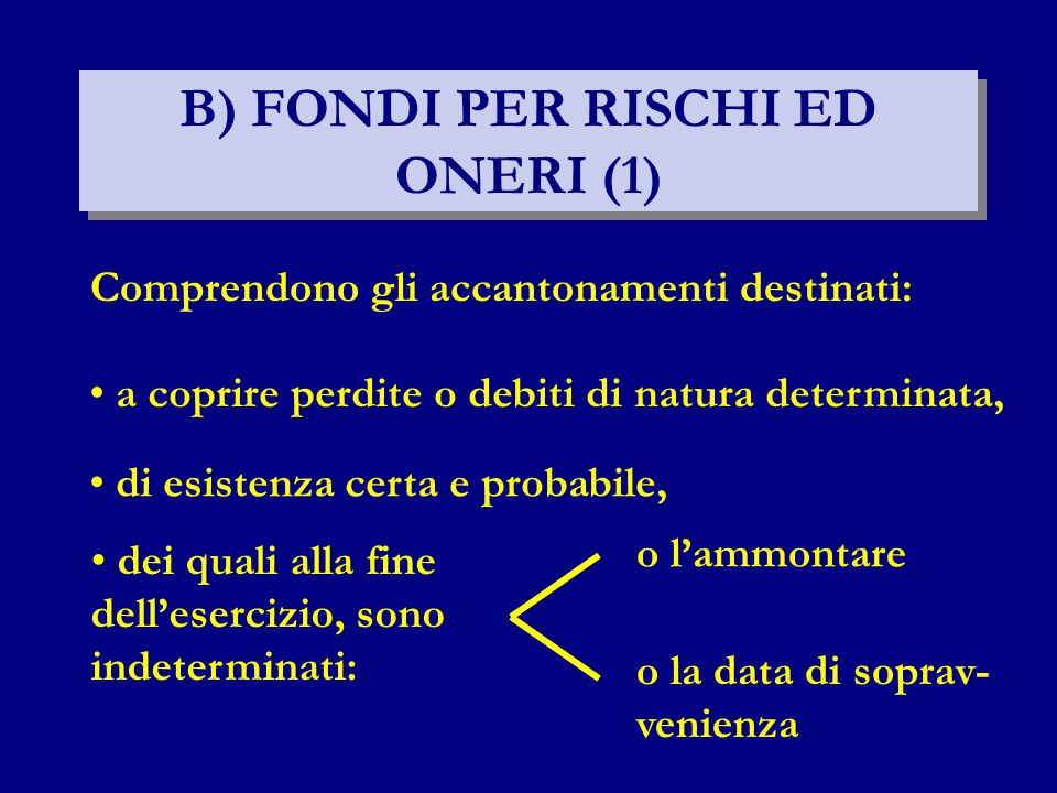 B) FONDI PER RISCHI ED ONERI (1)
