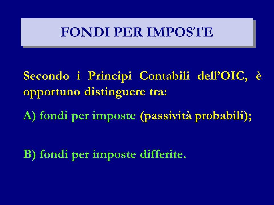 FONDI PER IMPOSTE Secondo i Principi Contabili dell'OIC, è opportuno distinguere tra: A) fondi per imposte (passività probabili);