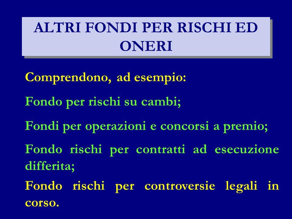 ALTRI FONDI PER RISCHI ED ONERI