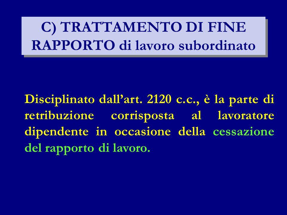 C) TRATTAMENTO DI FINE RAPPORTO di lavoro subordinato