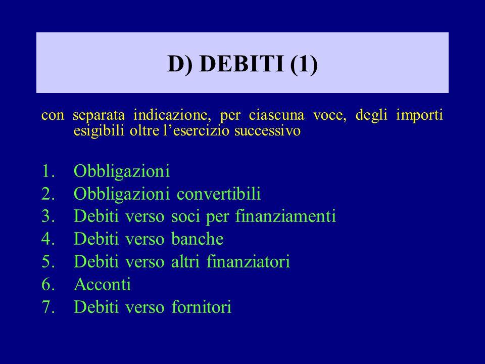 D) DEBITI (1) Obbligazioni Obbligazioni convertibili