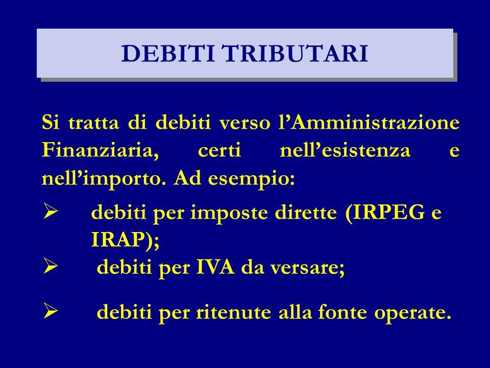 DEBITI TRIBUTARI Si tratta di debiti verso l'Amministrazione Finanziaria, certi nell'esistenza e nell'importo. Ad esempio: