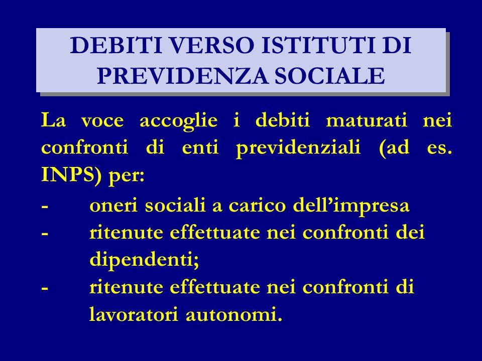 DEBITI VERSO ISTITUTI DI PREVIDENZA SOCIALE