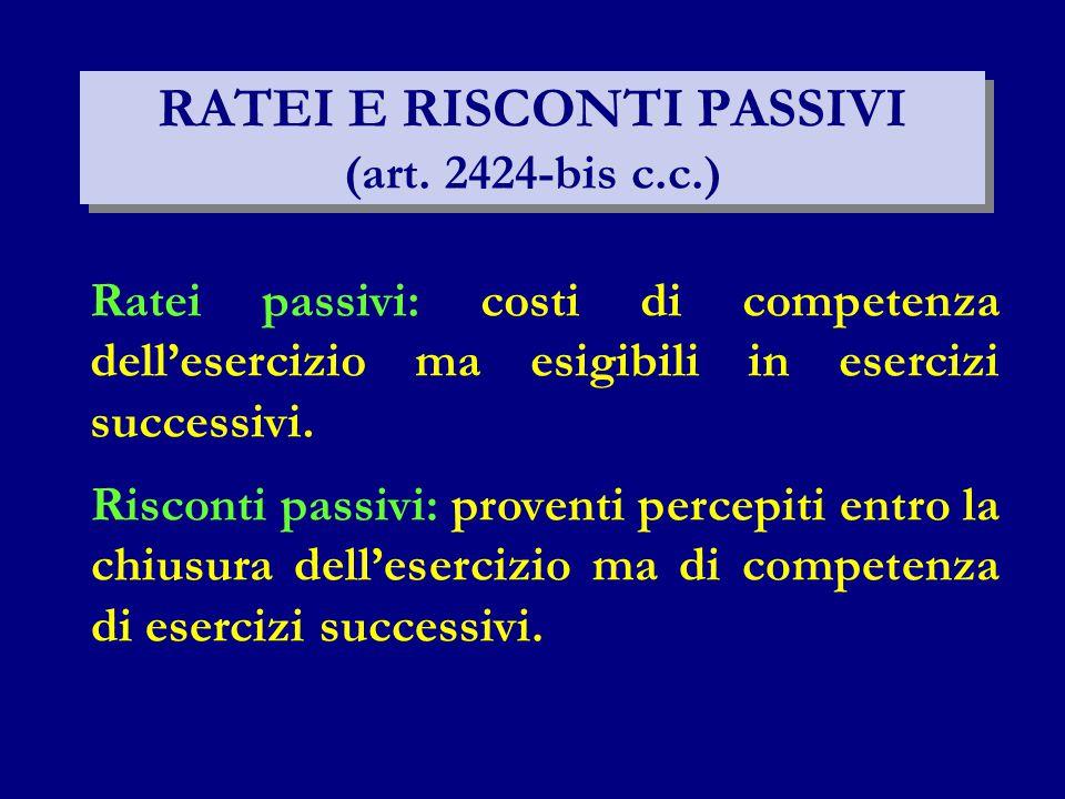 RATEI E RISCONTI PASSIVI (art. 2424-bis c.c.)