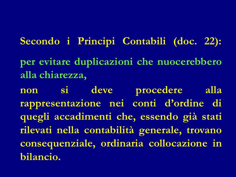 Secondo i Principi Contabili (doc. 22):