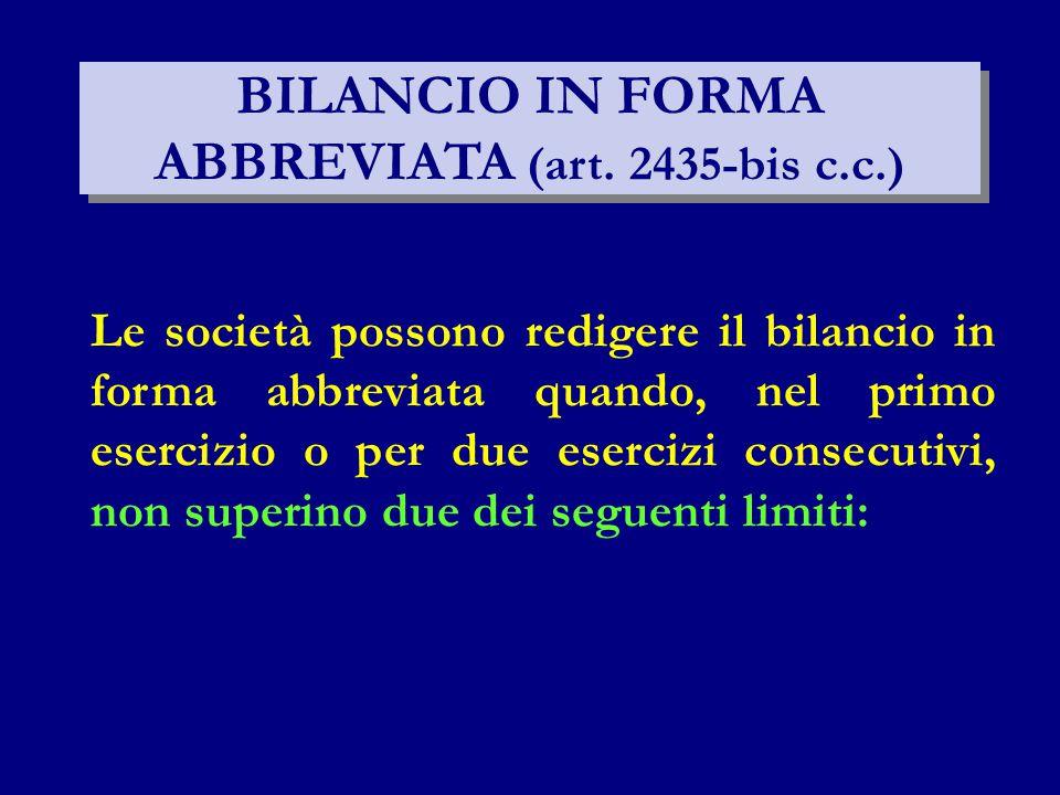BILANCIO IN FORMA ABBREVIATA (art. 2435-bis c.c.)