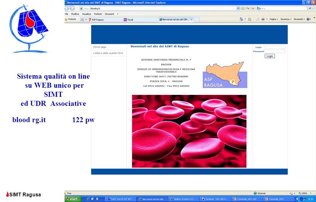 Sistema qualità on line su WEB unico per SIMT ed UDR Associative blood rg.it 122 pw