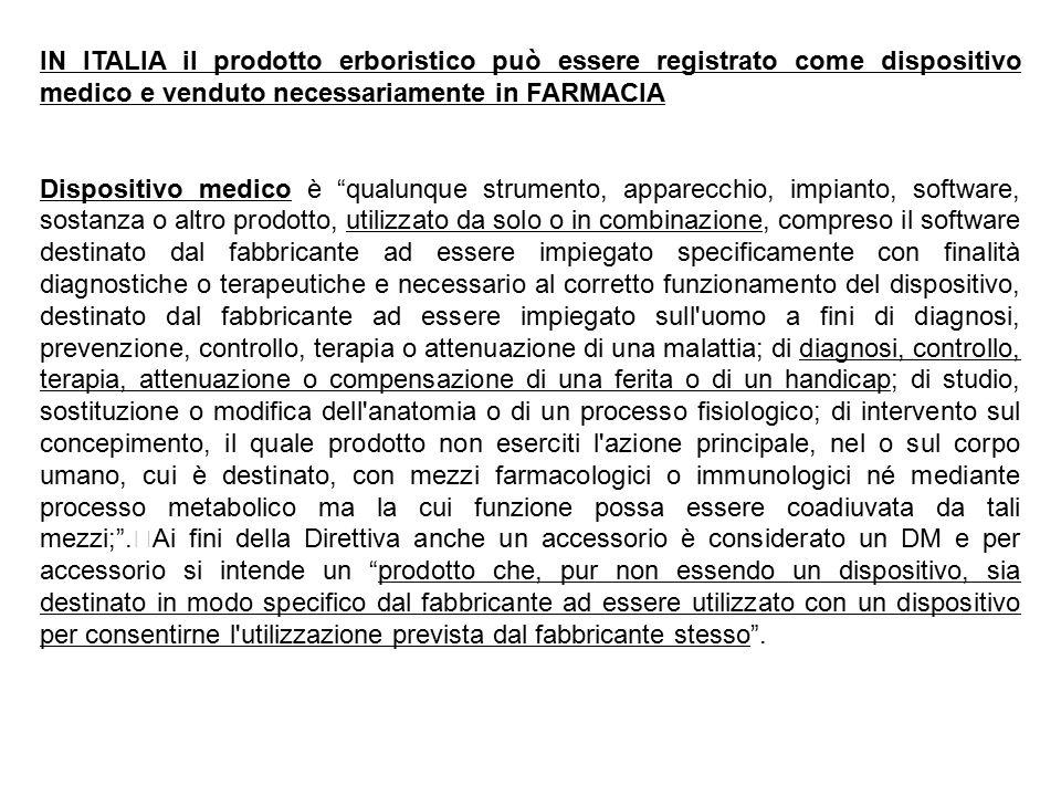 IN ITALIA il prodotto erboristico può essere registrato come dispositivo medico e venduto necessariamente in FARMACIA