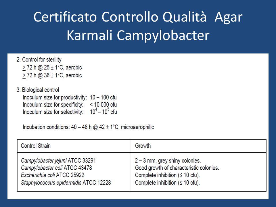 Certificato Controllo Qualità Agar Karmali Campylobacter