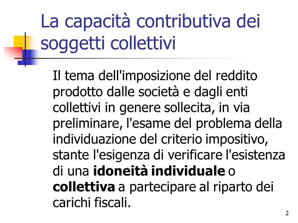 La capacità contributiva dei soggetti collettivi