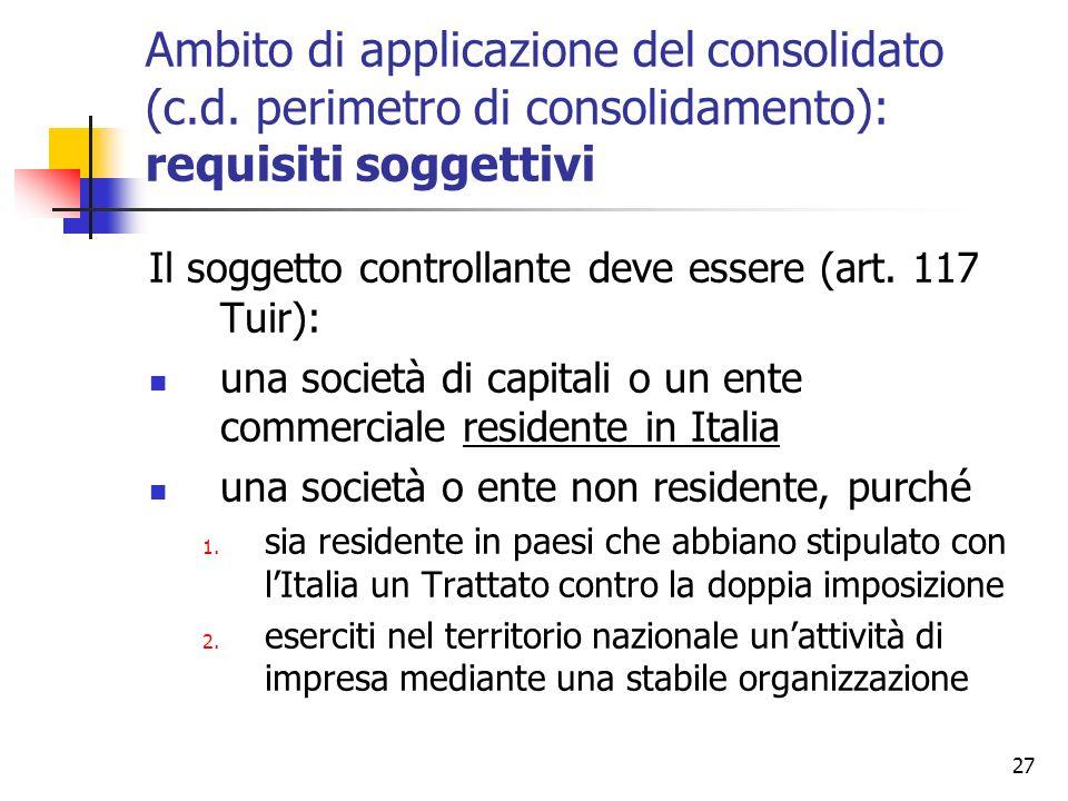 Ambito di applicazione del consolidato (c. d