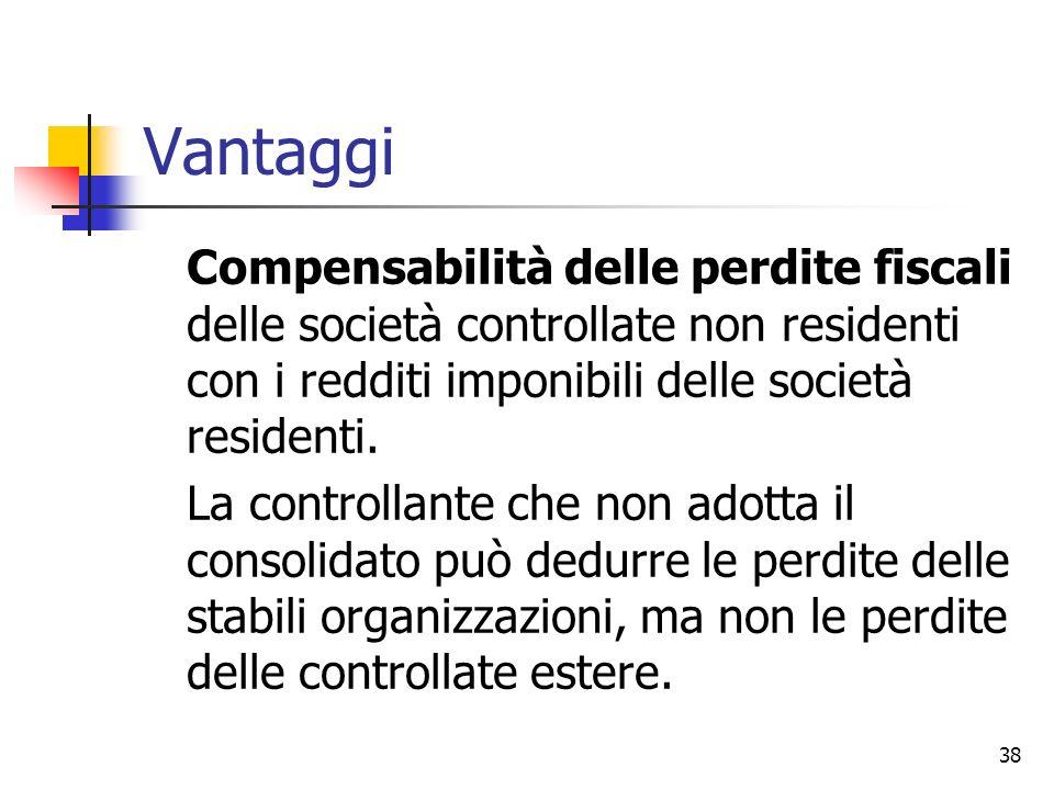 Vantaggi Compensabilità delle perdite fiscali delle società controllate non residenti con i redditi imponibili delle società residenti.