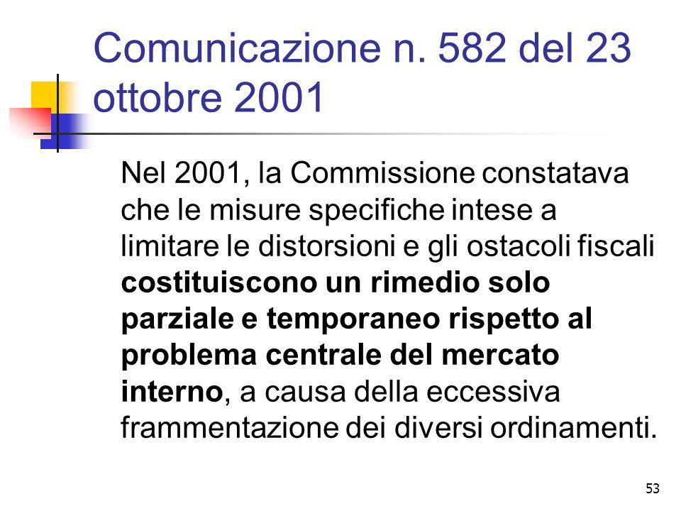 Comunicazione n. 582 del 23 ottobre 2001