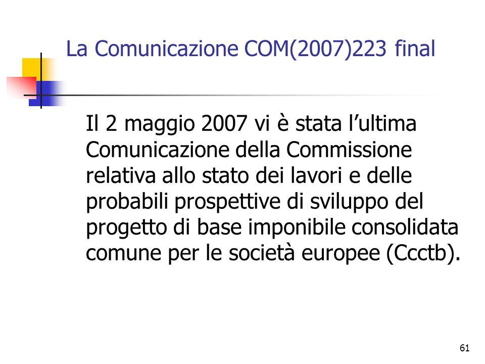 La Comunicazione COM(2007)223 final