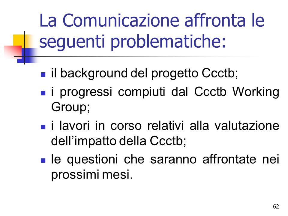 La Comunicazione affronta le seguenti problematiche: