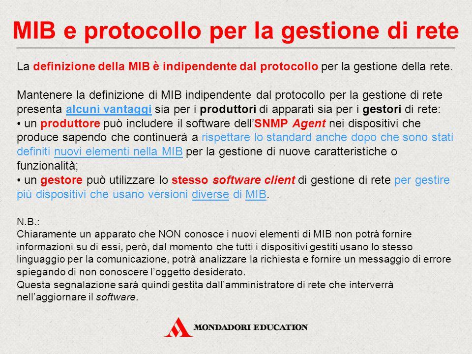 MIB e protocollo per la gestione di rete