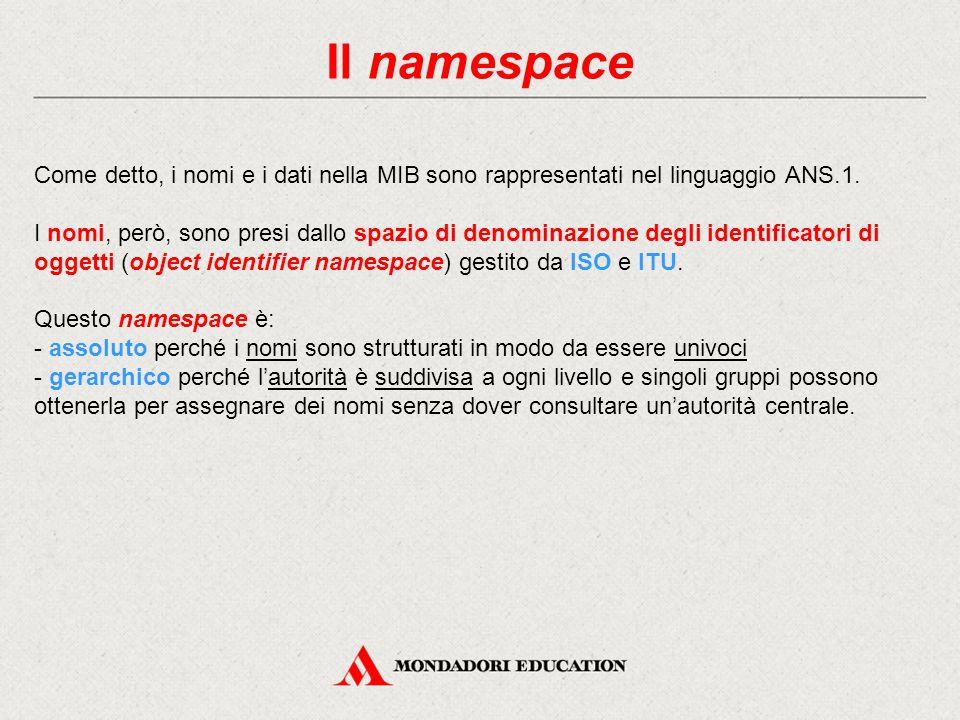 Il namespace Come detto, i nomi e i dati nella MIB sono rappresentati nel linguaggio ANS.1.