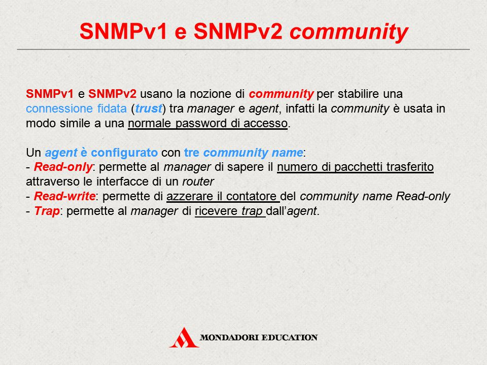 SNMPv1 e SNMPv2 community