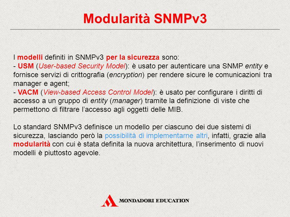 Modularità SNMPv3 I modelli definiti in SNMPv3 per la sicurezza sono: