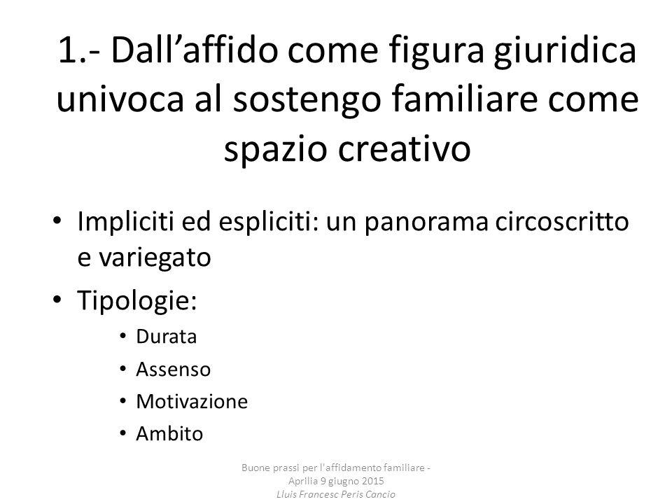 1.- Dall'affido come figura giuridica univoca al sostengo familiare come spazio creativo