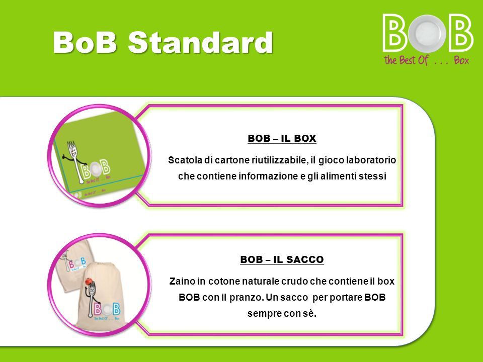 BoB Standard BOB – IL SACCO BOB – IL BOX