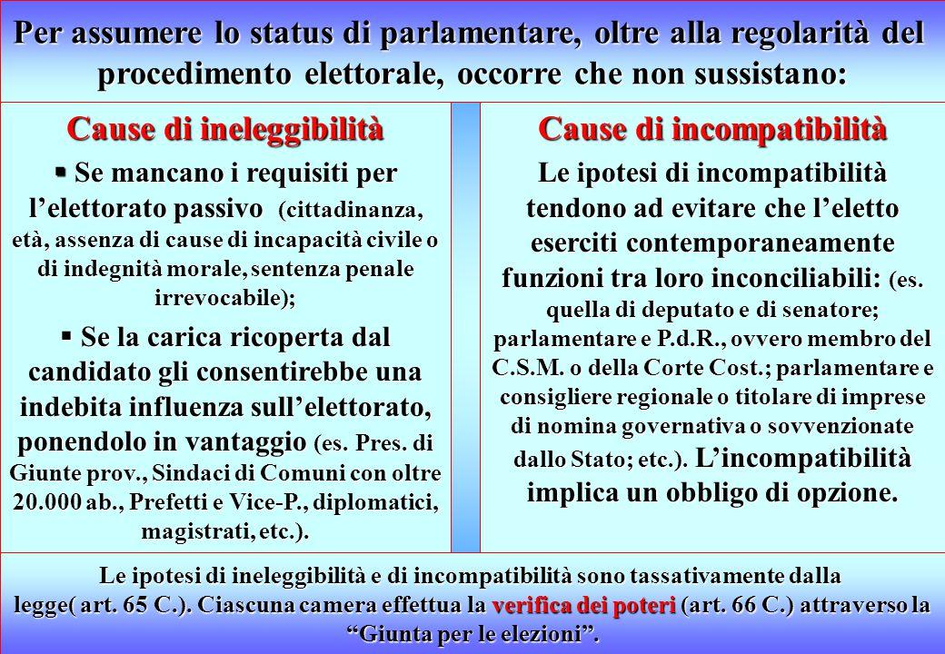 Per assumere lo status di parlamentare, oltre alla regolarità del
