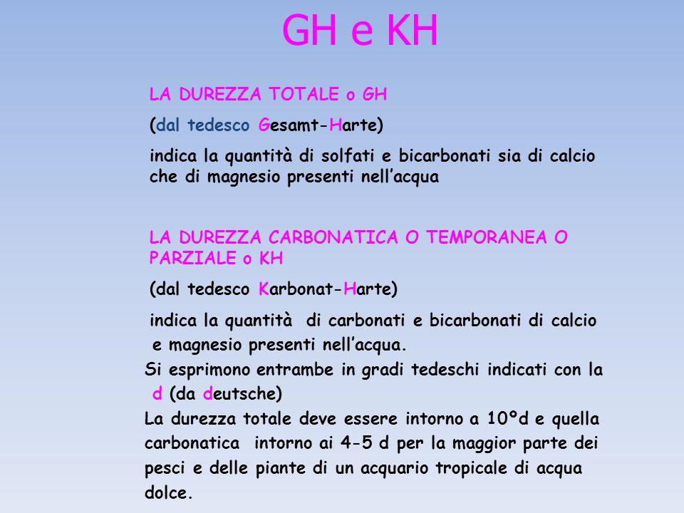 GH e KH LA DUREZZA TOTALE o GH (dal tedesco Gesamt-Harte)