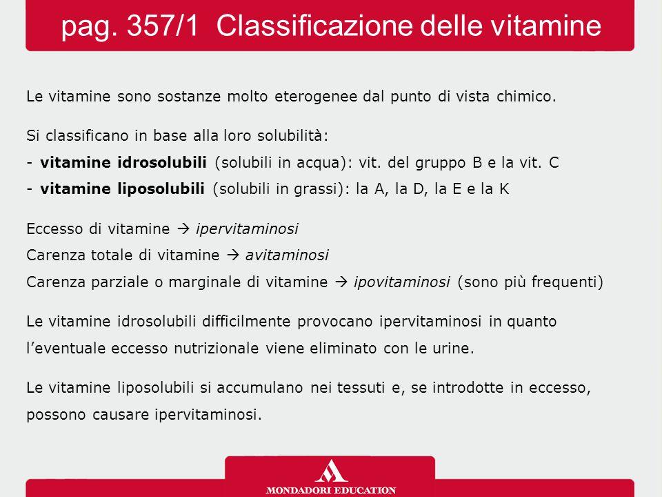 pag. 357/1 Classificazione delle vitamine