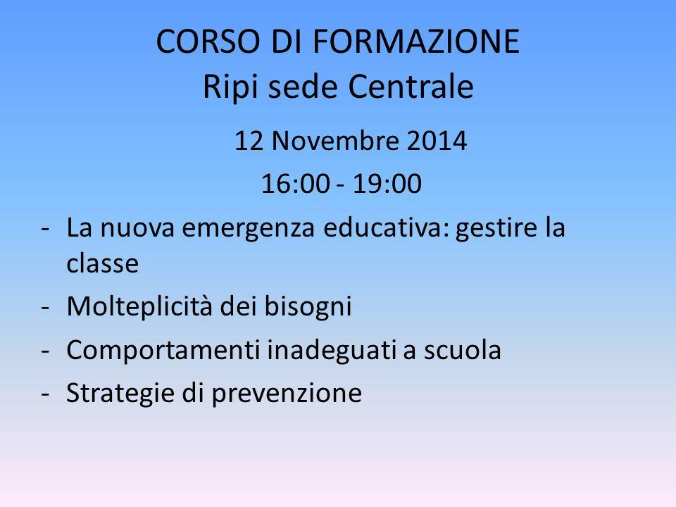 CORSO DI FORMAZIONE Ripi sede Centrale