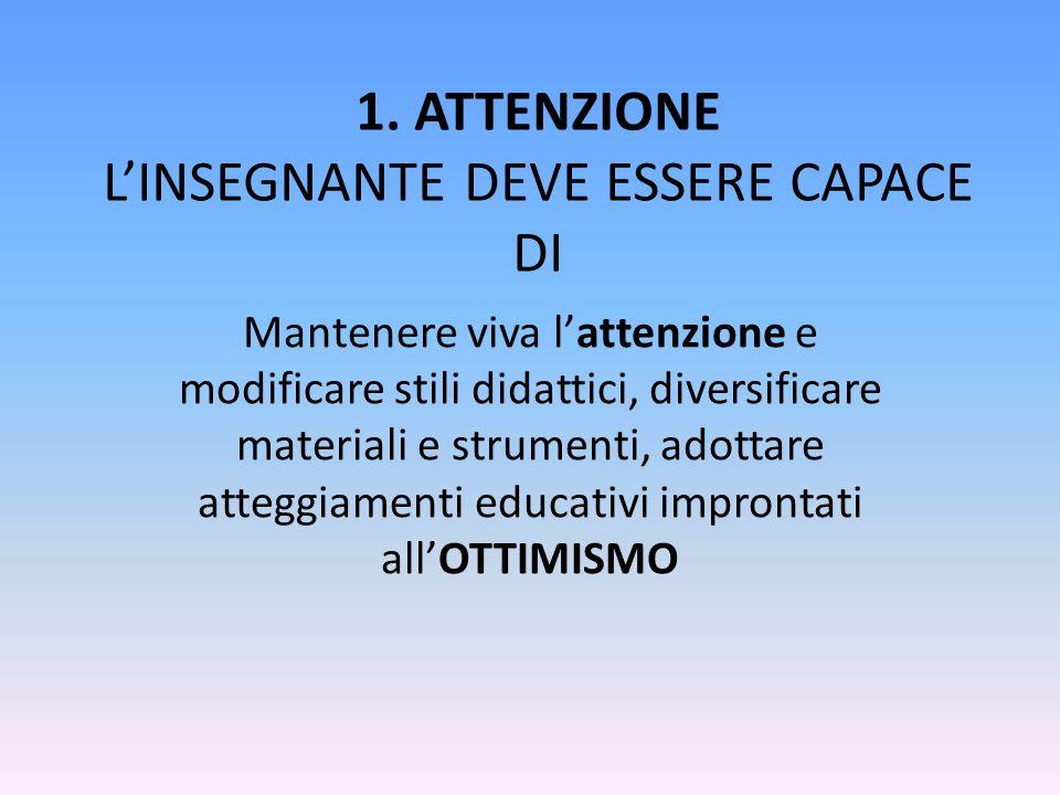 1. ATTENZIONE L'INSEGNANTE DEVE ESSERE CAPACE DI