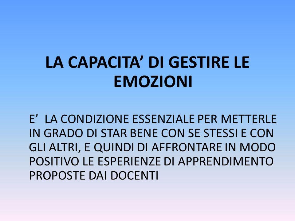 LA CAPACITA' DI GESTIRE LE EMOZIONI