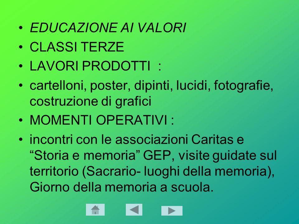 EDUCAZIONE AI VALORI CLASSI TERZE. LAVORI PRODOTTI : cartelloni, poster, dipinti, lucidi, fotografie, costruzione di grafici.
