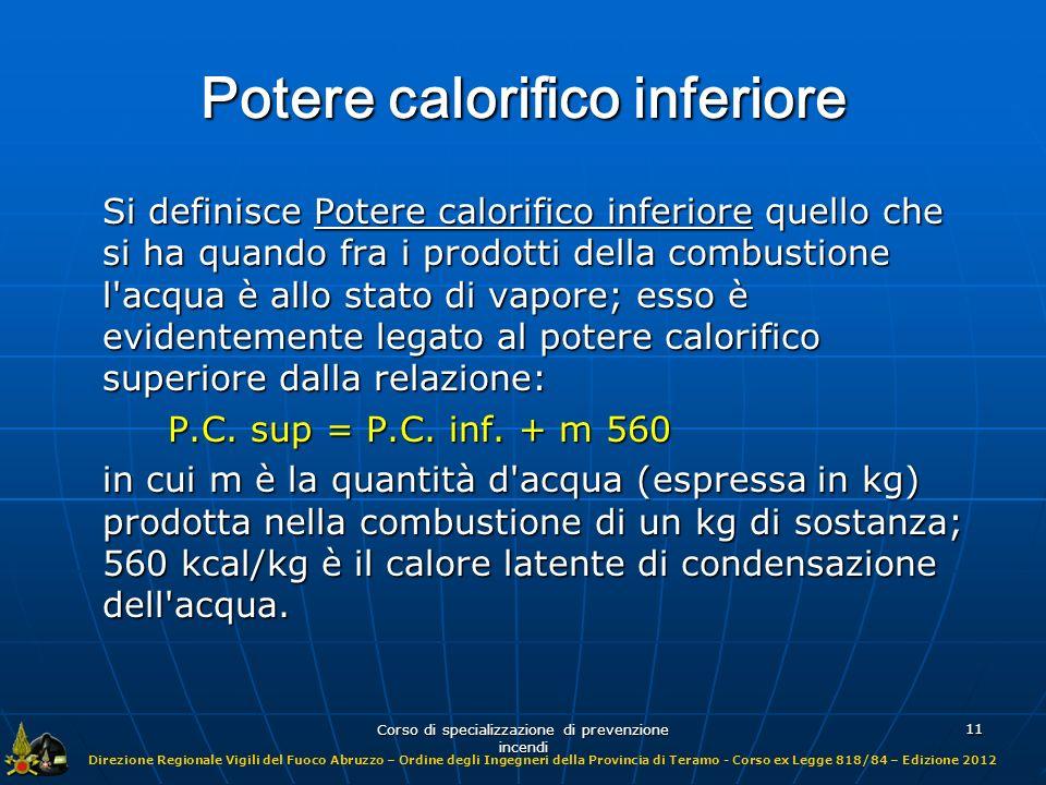 Potere calorifico inferiore