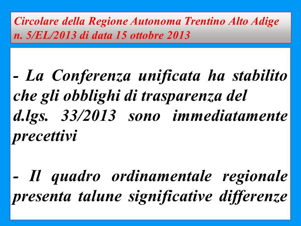 d.lgs. 33/2013 sono immediatamente precettivi