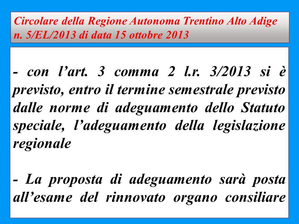 Circolare della Regione Autonoma Trentino Alto Adige n
