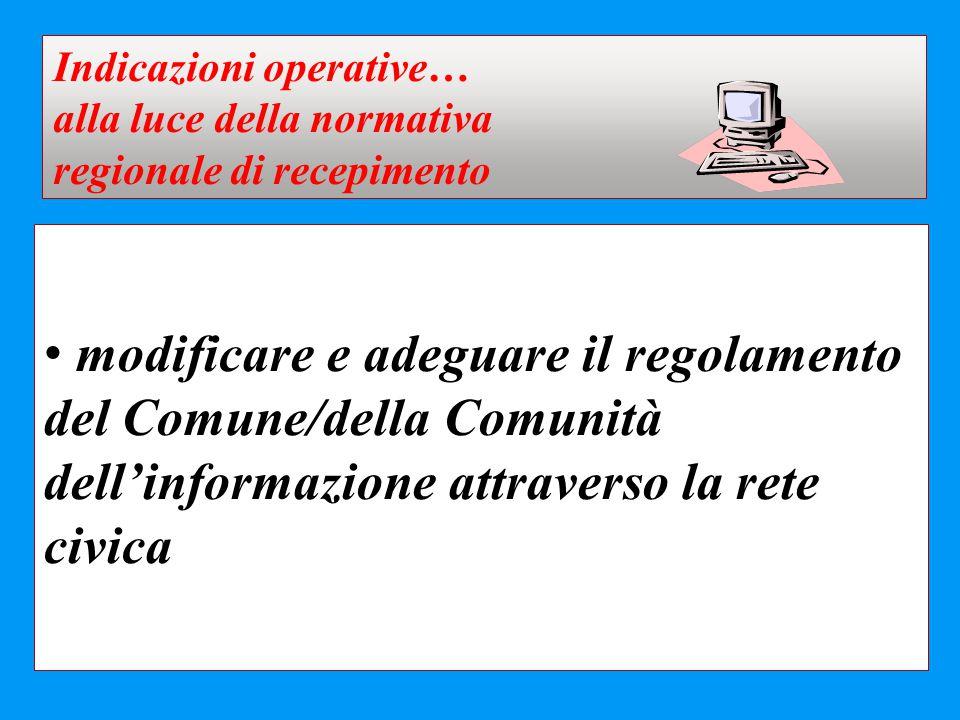 Indicazioni operative…
