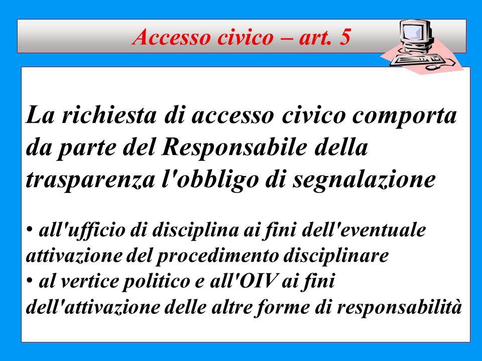 Accesso civico – art. 5 La richiesta di accesso civico comporta da parte del Responsabile della trasparenza l obbligo di segnalazione.