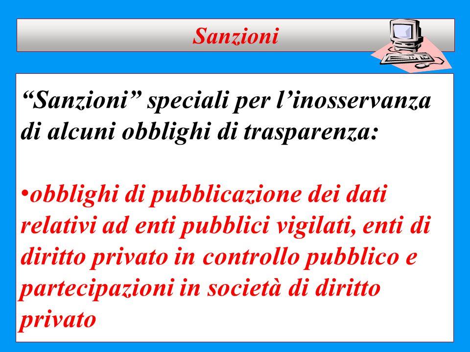 Sanzioni Sanzioni speciali per l'inosservanza di alcuni obblighi di trasparenza: