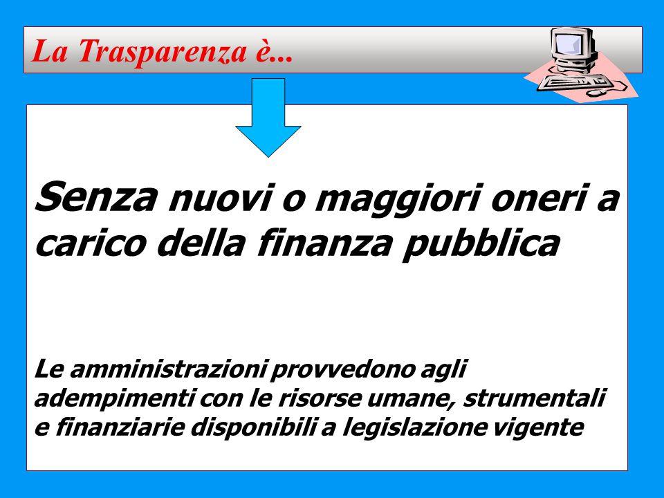 Senza nuovi o maggiori oneri a carico della finanza pubblica