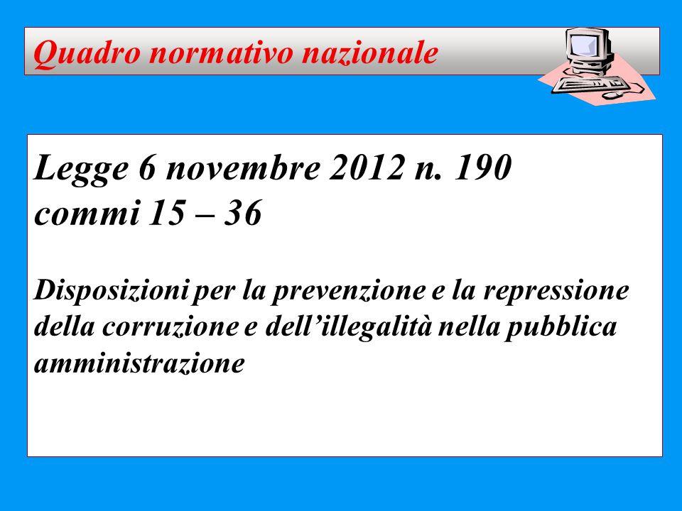 Legge 6 novembre 2012 n. 190 commi 15 – 36 Quadro normativo nazionale