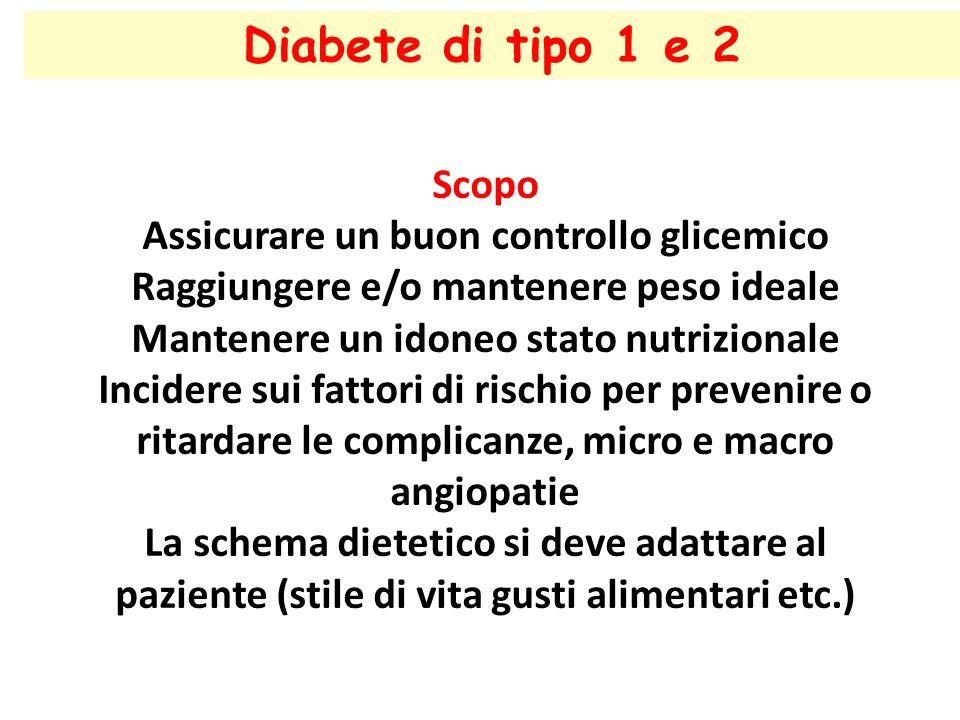 Diabete di tipo 1 e 2 Scopo Assicurare un buon controllo glicemico