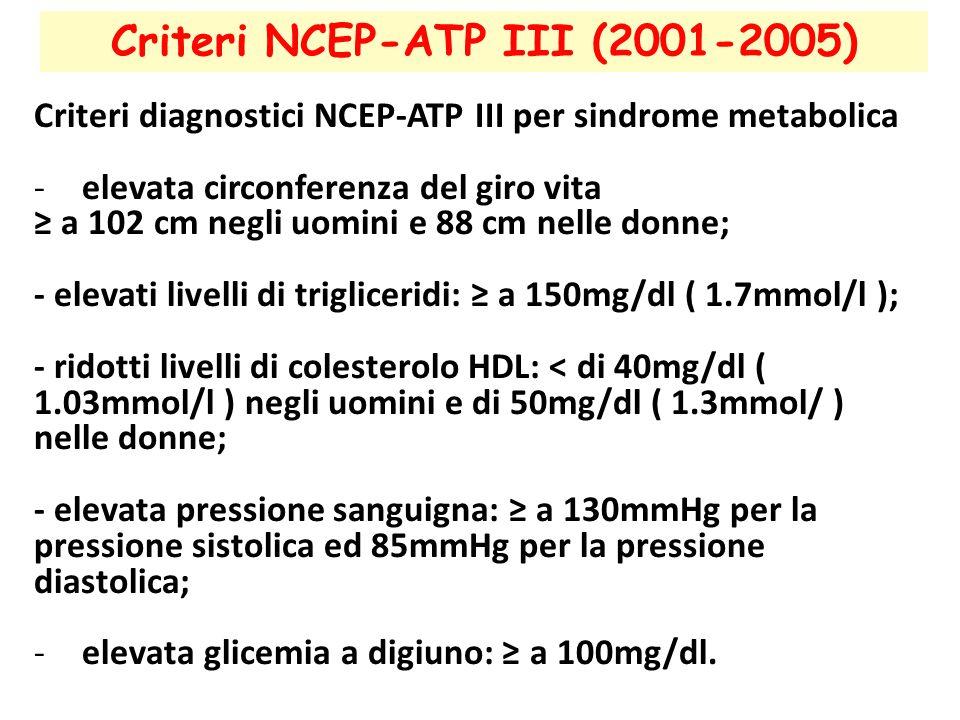 Criteri NCEP-ATP III (2001-2005)