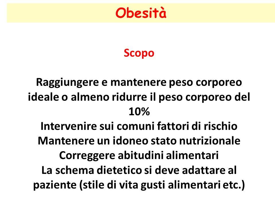 21/04/2017 Obesità. Scopo. Raggiungere e mantenere peso corporeo ideale o almeno ridurre il peso corporeo del 10%