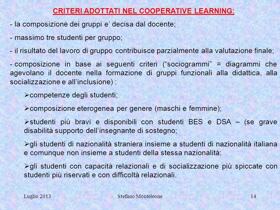 CRITERI ADOTTATI NEL COOPERATIVE LEARNING: