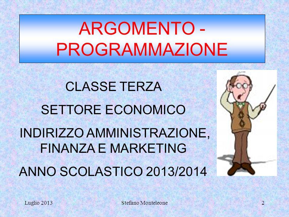 ARGOMENTO - PROGRAMMAZIONE