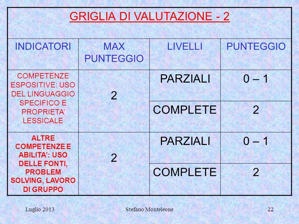 GRIGLIA DI VALUTAZIONE - 2
