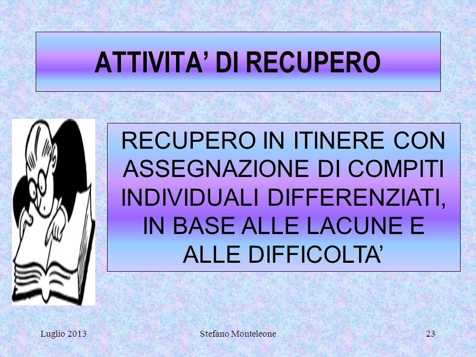 ATTIVITA' DI RECUPERO RECUPERO IN ITINERE CON ASSEGNAZIONE DI COMPITI INDIVIDUALI DIFFERENZIATI, IN BASE ALLE LACUNE E ALLE DIFFICOLTA'