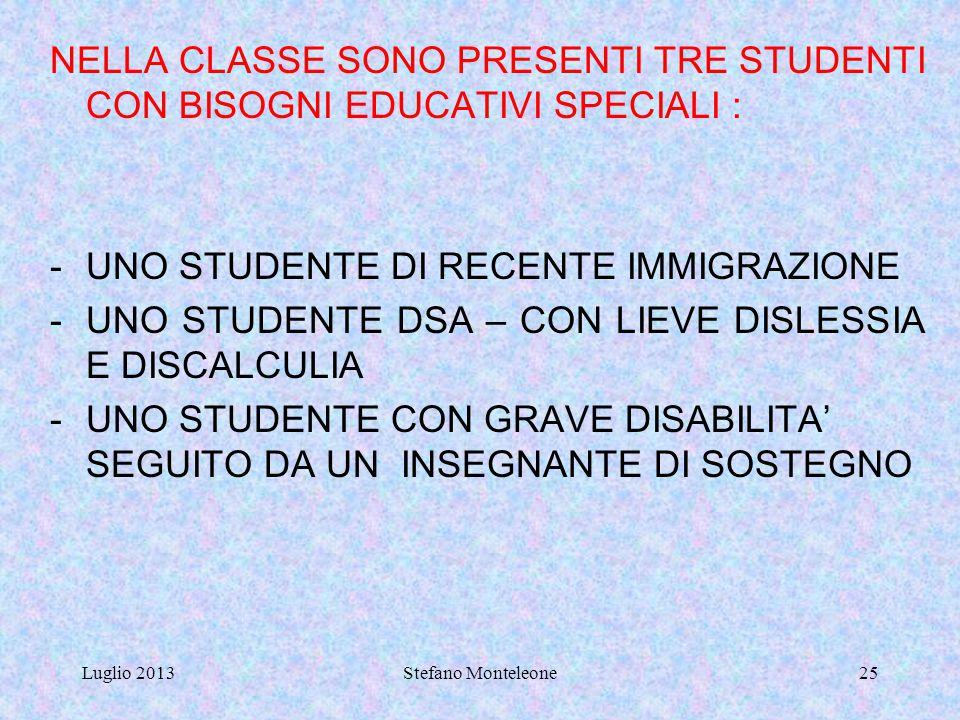 UNO STUDENTE DI RECENTE IMMIGRAZIONE