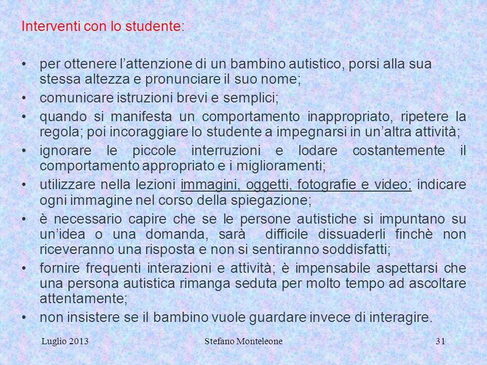Interventi con lo studente:
