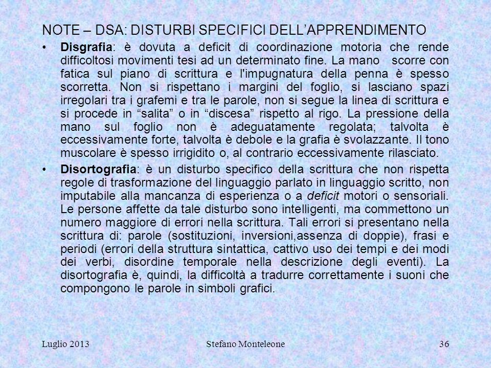 NOTE – DSA: DISTURBI SPECIFICI DELL'APPRENDIMENTO